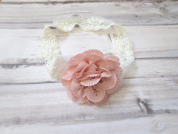 Pink Baby headband, baby girl headband, newborn headband, toddler headband, baby headband lace, dusty pink flower headband