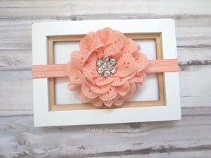 Baby headband, baby girl headband, newborn headband, toddler headband, Peach Baby Flower Headband, Baby Girl Flower Headband, Baby Hair Bow