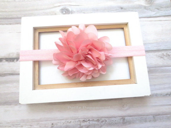 Baby headband, baby headband bow, baby head band flower, toddler headband, infant headband, pink baby hair bow, girl hair bow