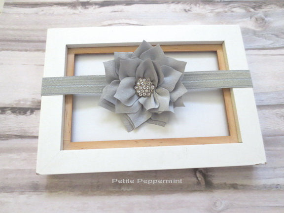 Gray Baby headband, baby girl headband, baby headband bow, grey flower hair bow, girl headband, girl hair bow, newborn headband