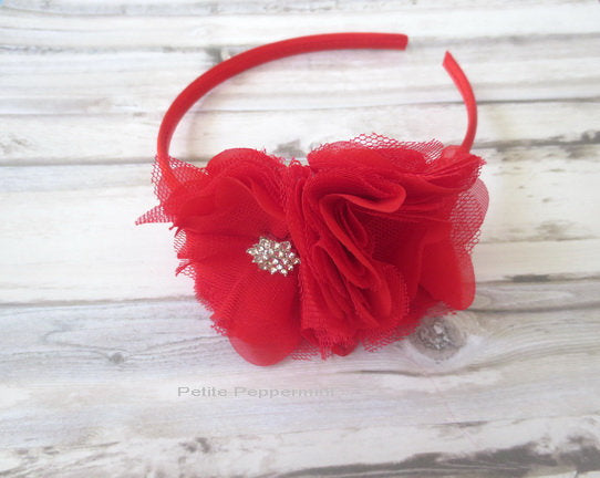 Baby headband, baby girl headband, toddler headband, Red Flower headband, girl headband, toddler hard headband. red girl hair band