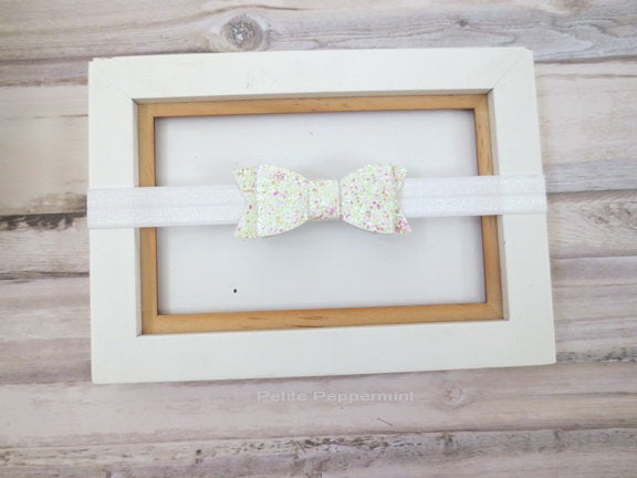 White Baby Headband, Baby flower headband, Newborn, infant Headband Toddler Headband, small bow headband, baptism, first communion headband
