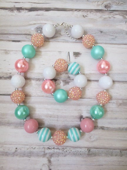 Pink Aqua White Baby Necklace, Girl Chunky Necklace, Baby Chunky necklace,Girl Bracelet, Baby Girl Bracelet