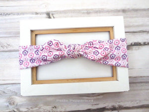Lavender baby headband, fabric bow head wrap, baby bow head band, baby head wrap, bow knot headband, Top Knot Baby Headband