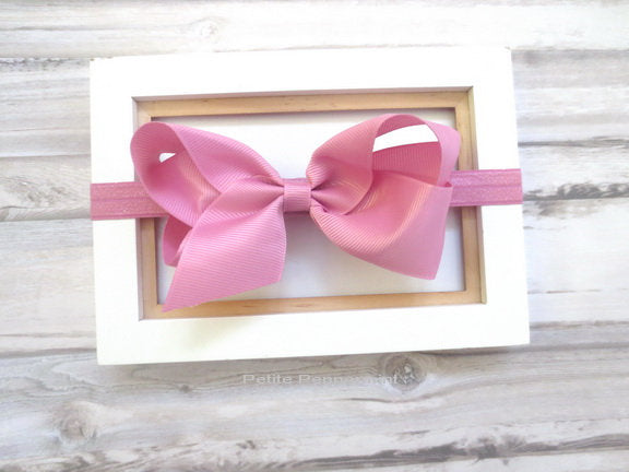 Dusty Rose baby headband, baby head band bow, newborn headband, toddler headband, Mauve baby hair bow, girl headband