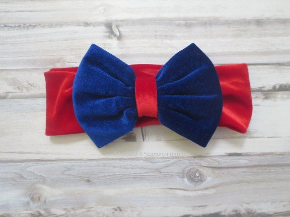 Red and Blue Baby Headband, Baby Head Band Bow, Baby Head Wrap, Velvet Bow Headband, Toddler Bow Headband, Baby Headband Bow