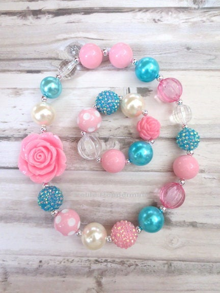 Baby Chunky Necklace, Pink Turquoise Girl Necklace Set, Baby Chunky necklace, Girl BubbleGum Bead Necklace, No Clasp Necklace, Girl Bracelet