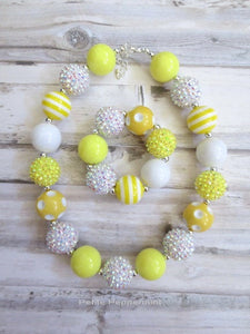 Yellow Baby Chunky Necklace, Girl Necklace, No Clasp Necklace, Necklace for Kids