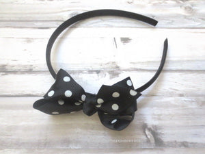 Baby headband, baby girl headband, toddler headband, black bow headband, girl headband, girl hair band - Black Polka Dot Bow Headband
