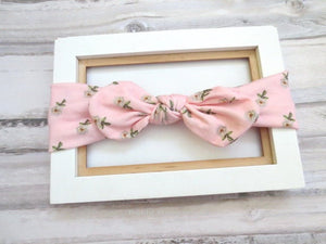 Pink Baby headband, Baby Head Wrap, Cotton Baby Turban, Bow Knot Headband,Top Knot Baby Headband, Baby Bow Headband,Baby Turban Wrap