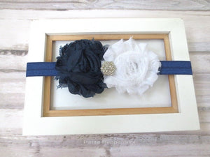 Navy Blue Baby headband, infant headband, toddler headband, Baby Headband Flower, Navy Blue Baby Hair Bow, Newborn headband, girl hair bow