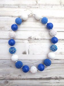 Royal Blue and White Necklace, Baby Necklace, Girl Necklace, Toddler Necklace, Baby Girl Necklace, Baby Chunky Necklace
