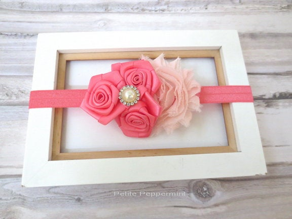 Coral Baby headband, baby girl headband, newborn headband, toddler headband, Baby Hair Bow, Baby Head Band, baby headband flower
