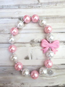 Pink White Pearl Baby Chunky Necklace, Girl Chunky Necklace, No Clasp Necklace, Toddler Necklace, Chunky Bead Necklace
