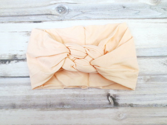 Peach Baby headband, knotted headband, newborn headband, toddler headband, baby turban, baby headwrap, baby headband nylon