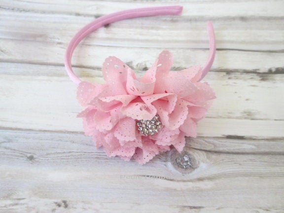 Pink Eyelet Baby headband, baby girl headband, toddler headband, little girl headband, pink girl hairband, toddler hard headband