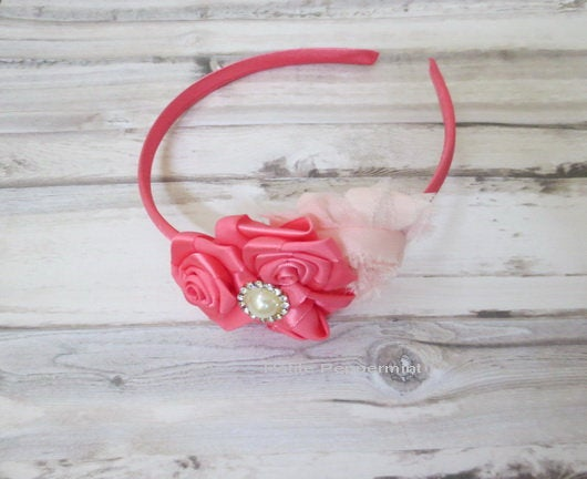 Coral Baby headband, toddler headband, little girl headband, girl bow headband, toddler hard headband, Coral girl hair band