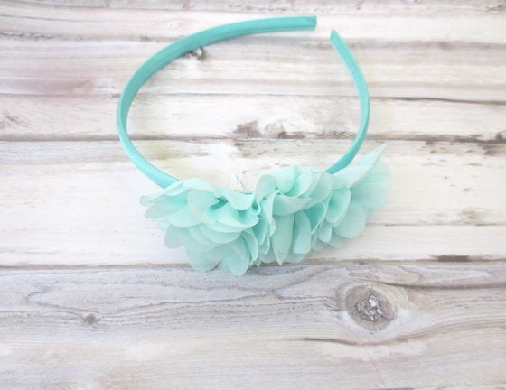 Aqua Flower Girl Headband