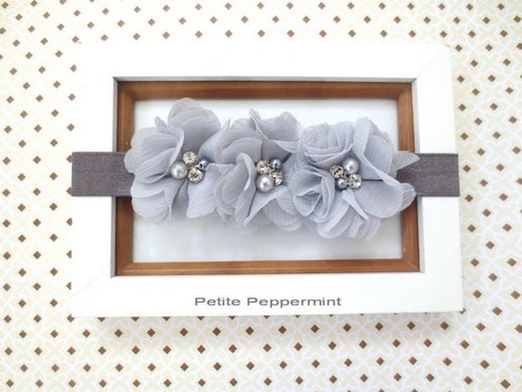 Gray Baby Headband, Baby Flower Headband, Baby Hair Bow, Baby Girl Headband, Grey girl hair bow, Newborn Headband