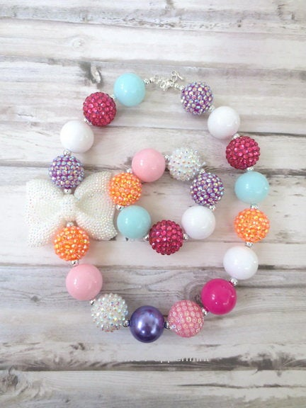 Baby Necklace, Girls Chunky Necklace, Baby chunky necklace, Necklace for Girls, No Clasp Necklace, Multi Color Bead Necklace