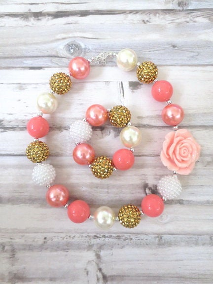 Coral Baby Chunky Necklace, Little Girl Bubblegum Necklace, Children Necklace, Girl Chunky Necklace, Girl Jewelry, Girl Bracelet
