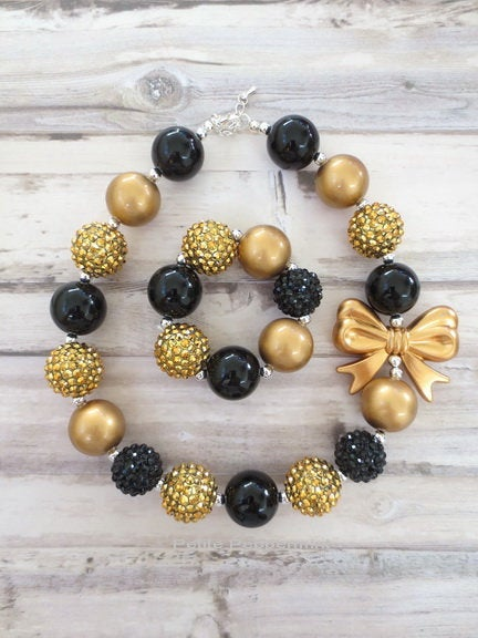 Black Gold Girl Chunky Necklace, Toddler Bubblegum Necklace, Children Necklace, Baby Girl Necklace, Chunky Bead Necklace
