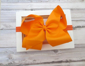 Orange Baby headband,baby bow headband,Big Bow Baby head band, orange baby hair bow,Big Girl Bow Headband, toddler headband, girl hair bow