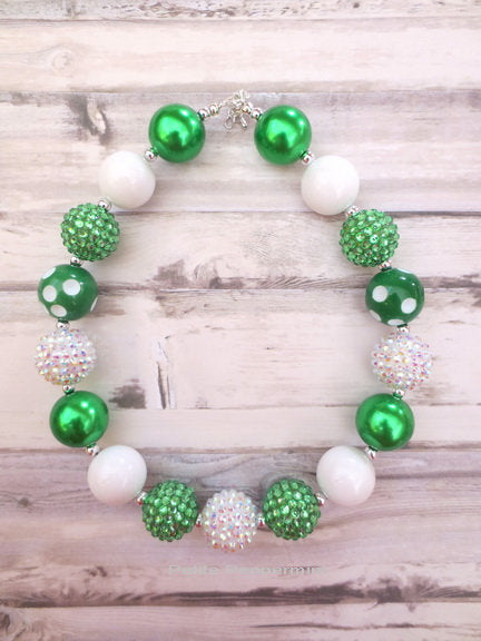 Green White Necklace, Baby Girl Chunky Necklace, Girl Necklace, Girl Bracelet, Toddler Necklace Bracelet Set, Baby Necklace, Chunky Necklace