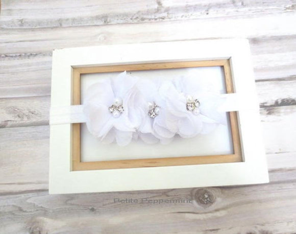 Baby Headband, Baby flower headband, Newborn, infant Headband Toddler Headband, white flower headband, baptism, first communion headband