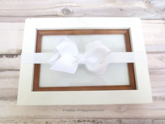 Baby headband, white baby hair bow, white girl headband, newborn headband, baby head band bow