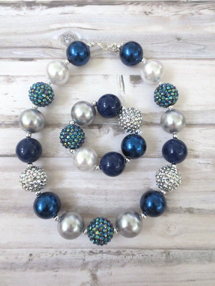 Navy Blue Silver Toddler Chunky Necklace, Baby Chunky Necklace, Girl Bracelet, Girl Chunky Necklace, Chunky Bead Necklace, Toddler Jewelry