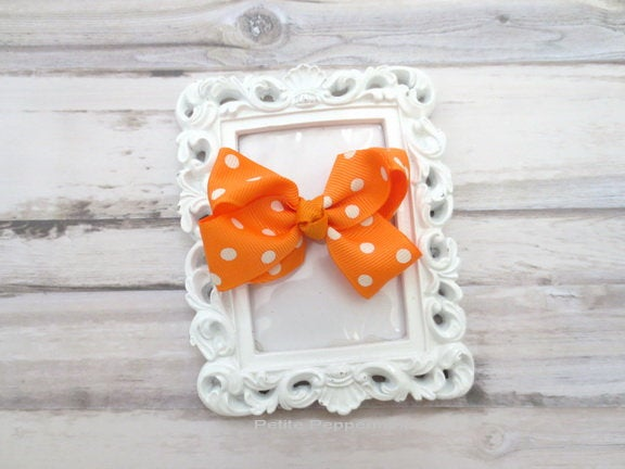 Orange Polka Dot Baby Hair Clip, Baby Girl Hair Clip, Toddler Hair Clip, Orange Baby Hair Bow, Girl Hair Clip, Girl Hair Bow