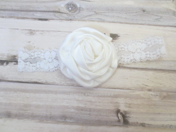 White Flower Baby Headband, Baby Head Band, Baby Hair Bow, Infant Headband, Toddler Headband, Girl Headband, Newborn Head band lace