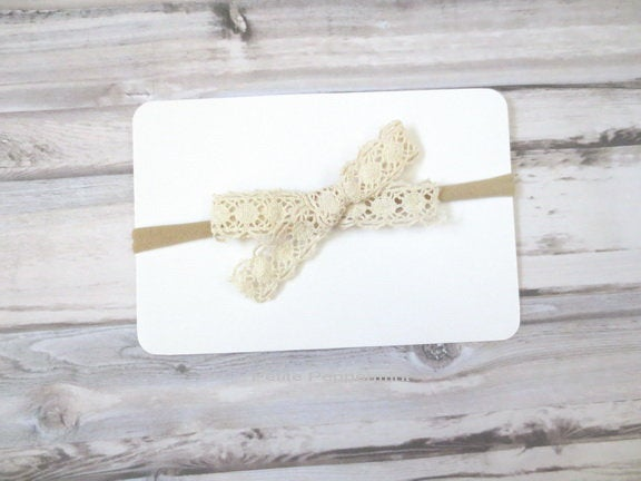 Ivory Baby headband, Baby Head band bow, baby headband nylon, Baptism Headband, First Communion Headband, Ivory Baby Hair bow