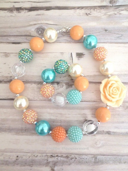 Peach Coral Aqua Baby Necklace, Birthday Necklace, Girl, Toddler Chunky Necklace, Girl Jewelry, Bubblegum Necklace, Baby Girl Necklace