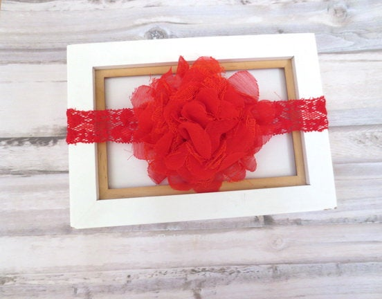 Red baby headband, baby headband lace, toddler headband,newborn headband, Baby Headband Bow, Red Baby Hair Bow, Girl Hair Bow Red