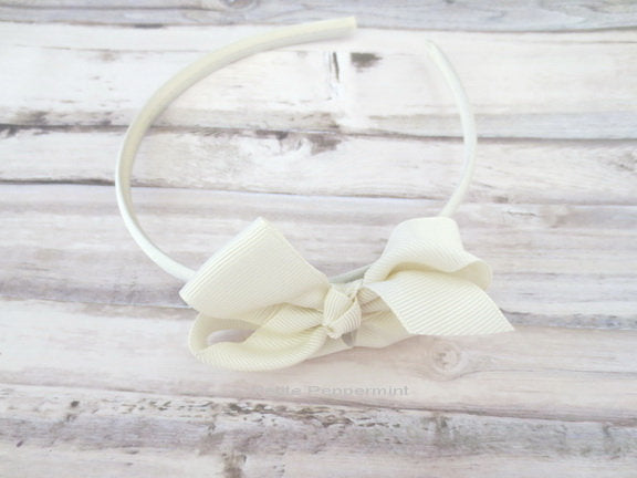 Ivory Baby headband, toddler headband, girl headband ivory, girl hard headband, toddler hard headband, girl hair bow, girl hair band