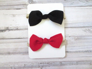 Set of two Baby Headband, Baby Hair Bow, Toddler Headband, Infant Headband, Baby Head band nylon, Newborn headband, black red hair bow