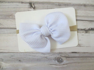Baby headband, baby head band bow, baby headband nylon, newborn headband, infant, toddler headband, baby hair bow, White Bow headband