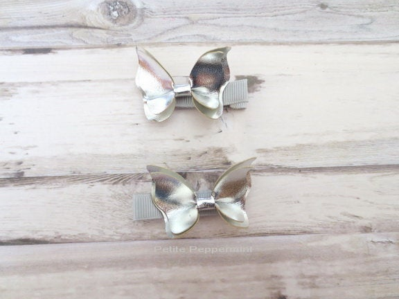 Set of two Silver butterfly baby hair clip, Toddler hair clip, Girl Hair Clip, Little Girl Hair bow, Girl Barette, baby hair bow