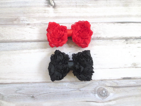 Red Black Bow Baby Hair Clip, Girl Hair Bow, Toddler Hair Bow, Infant Hair Clip, Baby girl hair bow, Baby Barrette, Girl Barrette
