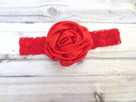 Red Flower Baby Headband, Baby Head Band, Baby Hair Bow, Infant Headband, Toddler Headband, Girl Headband, Newborn Head band lace