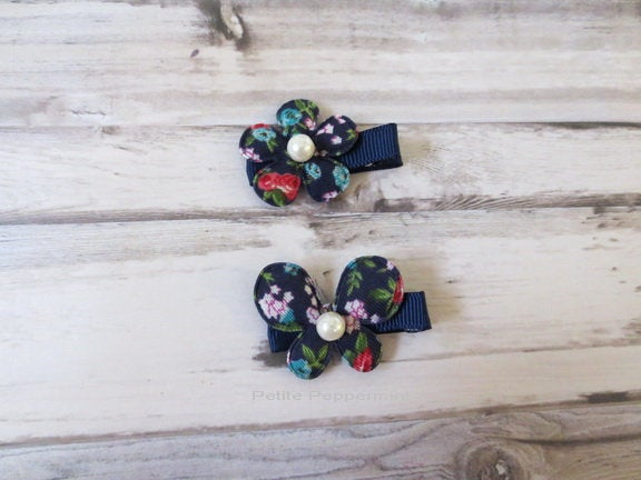 Set of Two Navy Blue Butterfly and Flower Baby Hair Clip, Baby Girl Hair Clip, Toddler Hair Clip, Girl Hair Clip, Girl Barrette