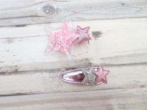 Set Of Two Pink Star Toddler Hair Clip, Toddler Hair Bow, Girl Hair Clip, Girl Hair Bows, Star Hair Clips, Toddler Snap Clips