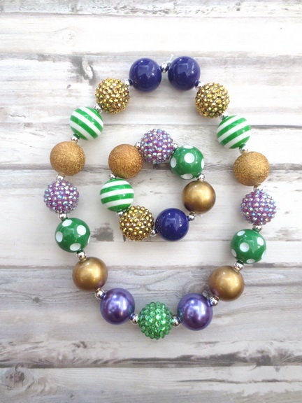 Mardi Gras Girl Necklace,Baby Chunky Necklace, Toddler Jewelry, Girl Bracelet, Girls Bubblegum Necklace, No Clasp Necklace, Baby Bracelet