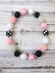 Pink Black Baby Necklace, Toddler Necklace, No Clasp Necklace, Girl Bead Necklace, Girl Necklace, Necklace for Girls