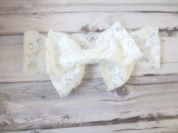 White Baby Headband, toddler headband, baby headband lace, baby head wrap, baby hair bow, baby head wrap, baby turban, knotted bow headband