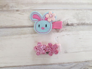 Baby hair clip, toddler hair clip, set of two bunny hair clip, girl hair bow, girl hair clip
