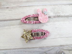 Baby hair clip, toddler hair clip, set of two bow bunny hair clip, girl hair bow, girl hair clip, toddler snap clip
