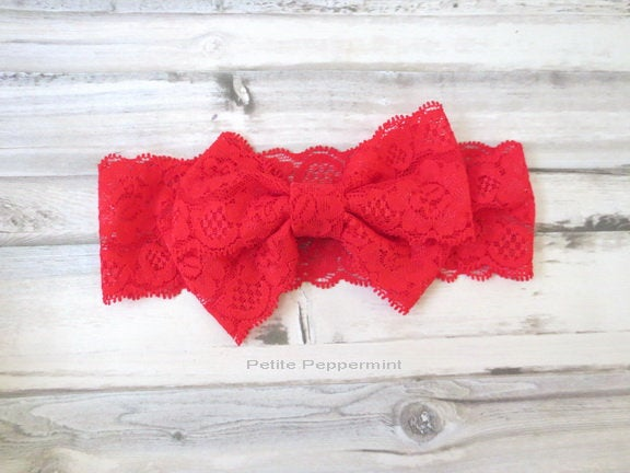 Baby Headband Red,Baby Knot Headband,Top knot baby head band,Baby wrap bow,baby head wrap,baby turban, baby headband lace